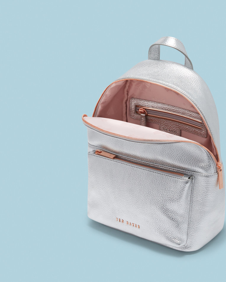 8a76d3b29 seu-Womens-Accessories-Bags-PEAREN-Leather-backpack-Silver-